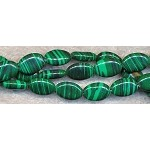 12x8mm Oval Malachite Beads Strand - CLOSEOUT