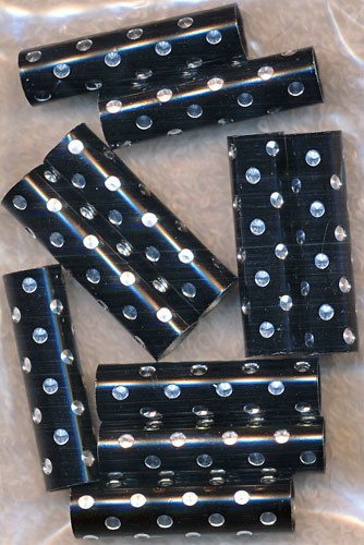 Black with Silver Dots Large Hole Tube Beads, Bulk 10pc