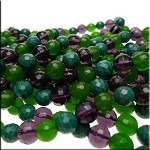10mm Faceted Round Mixed Gemstone Beads Jade Amethyst Malachite Strand