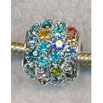 Multicolored Crystal Studded Large Hole Beads European Style Crystal Big Hole Beads 15x16mm (1)