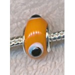 ORANGE EVIL EYE Motif European Style Glass Large Hole Bead, Lampworked Glass with Silver-finished Brass Metal Grommets, Big Hole Lampworked Rondelle, 4.5mm Hole (1)