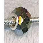 Faceted Large Hole Bead, METALLIC HEMATITE GUNMETAL Big Hole Bead, CLEARANCE