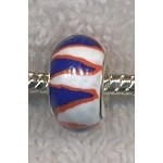 Polymer Clay Large Hole Bead RED WHITE AND BLUE Big Hole Bead, CLEARANCE