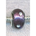 PURPLE with RHINESTONE Crystals Glass Large Hole Beads,, Big Hole Lampworked Beads