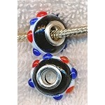 Multicolor European Style Glass Large Hole Bead, Lampworked Glass with Silver-finished Brass Metal Grommets, Big Hole Lampworked Rondelle, 4.5mm Hole (1)
