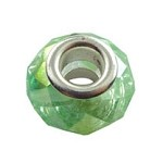 PERIDOT AB European Style Large Hole Bead, Faceted Glass with Silver-finished Brass Metal Grommets, Big Hole Faceted Rondelle, 4.5mm Hole (1)