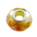 CITRINE AB European Style Large Hole Bead, Faceted Glass with Silver-finished Brass Metal Grommets, Big Hole Faceted Rondelle, 4.5mm Hole (1)