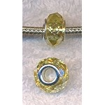 LIGHT YELLOW TOPAZ European Style Large Hole Bead, Faceted Glass with Silver-finished Brass Metal Grommets, Big Hole Faceted Rondelle, 4.5mm Hole (1)