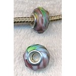 PURPLE-GREEN HURRICANE Swirl European Style Large Hole Bead, Faceted Glass with Silver-finished Brass Metal Grommets, Big Hole Faceted Rondelle, 4.5mm Hole (1)
