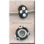 Black with White FLOWER Motif European Style Glass Large Hole Bead, Lampworked Glass with Silver-finished Brass Metal Grommets, Big Hole Lampworked Rondelle, 4.5mm Hole (1)