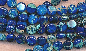 Blue Sea Sediment Jasper Beads, 8mm Coin Beads - CLEARANCE