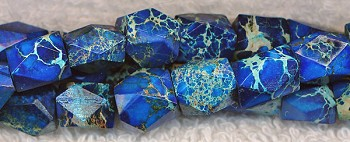 Faceted Blue Sea Sediment Jasper Nuggets, Gemstone Beads - CLEARANCE