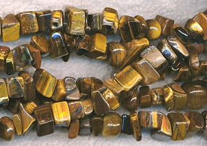 Tiger Eye Chip Nugget Beads, avg 6x12x10mm Strand