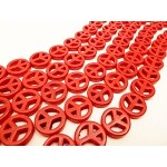 15mm Red Magnesite Peace Symbol Gemstone Beads Strand