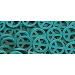 Peace Beads, Turquoise Peace Sign Beads, 25mm
