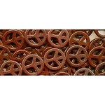 Peace Sign Beads, 25mm Brown Magnesite