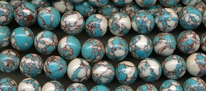 Boulder Turquoise Beads, 14mm Round, CLEARANCE