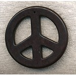 Large Peace Sign Pendant, 55mm Black Magnesite