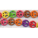 Peace Sign Beads, Assorted Mix Color Dyed Magnesite 15mm