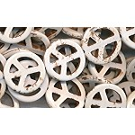 Peace Sign Beads, White Magnesite Peace Symbols, 20mm