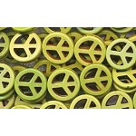 Green Peace Sign Beads, Small Dyed Gaspiete Magnesite 15mm