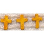 16x12mm Double-Drilled Orange Yellow Magnesite Cross Beads Strand, Gemstone Cross Beads