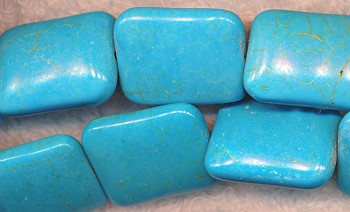 Turquoise Beads, 24x18mm Rectangle Pillow Beads