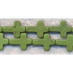 Moss Green Turquoise Cross Beads, 16x12mm