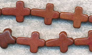 Brown Turquoise Magnesite Cross Beads, 16x12mm