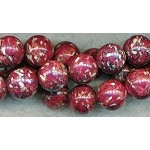 Maroon Mosaic Turquoise 13mm Round