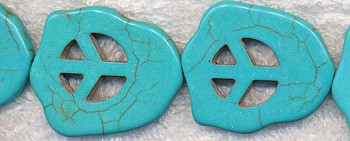 Turquoise Peace Sign Slab Beads, Large