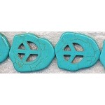 Magnesite Turquoise Peace Sign Slab Beads
