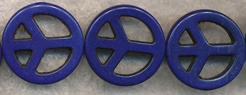 25mm Navy Blue Peace Sign Beads - CLEARANCE