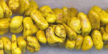 Yellow Magnesite Nuggets, avg 6x12x10mm Stone Nugget Beads