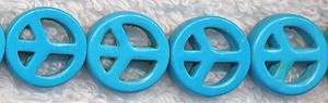 Turquoise Peace Symbol Beads, 15mm