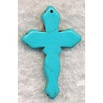 Turquoise Cross Pendant, Gemtone Cross Pendant, 45x30mm (1)