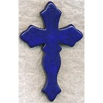 Gemstone Cross Pendant, Large Navy Blue Magnesite Gothic Cross Pendant, 78x50mm (1)