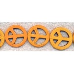 Peace Sign Beads, 35mm Sunset Yellow Magnesite Focal Pendants