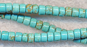 Turquoise Heishe Spacers 5mm Gemstone Beads - CLEARANCE