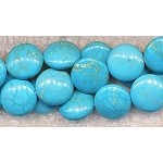 12mm Coin Light Blue Turquoise Magnesite Beads Strand