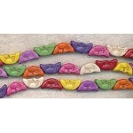 Multicolored Moon Beads, Carved Crescent Moon Gemstone Beads