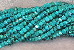 Natural Turquoise Gemstone Beads, avg4mm Faceted Nuggets