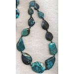Natural Turquoise Faceted Slab Beads, Freeform Graduated Necklace