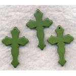 Green Magnesite Turquoise Cross Pendant, Gemstone Cross Pendant, Gothic 45mm