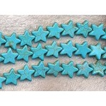 Gemstone Star Beads, Turquoise, 15mm, Strand
