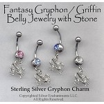 Sterling Silver Gryphon Belly Ring, Griffin Body Jewelry, Dragon Navel Ring