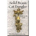 Solid BRASS Cat Dangler Connector Pendant - CLOSEOUT