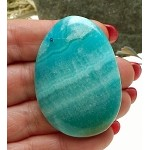 Blue Calcite Cab for Wire-Wrapping, Freeform Calcite Gemstone Cabochon, 51x36mm