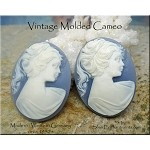 Vintage Cameo, Gibson Girl Wedgewood Blue, West Germany