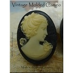 Vintage Cameo, Victorian Black Cameo for Mourning, W Germany